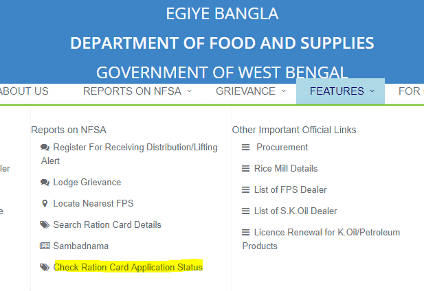 Check Ration card Application Status in West Bengal